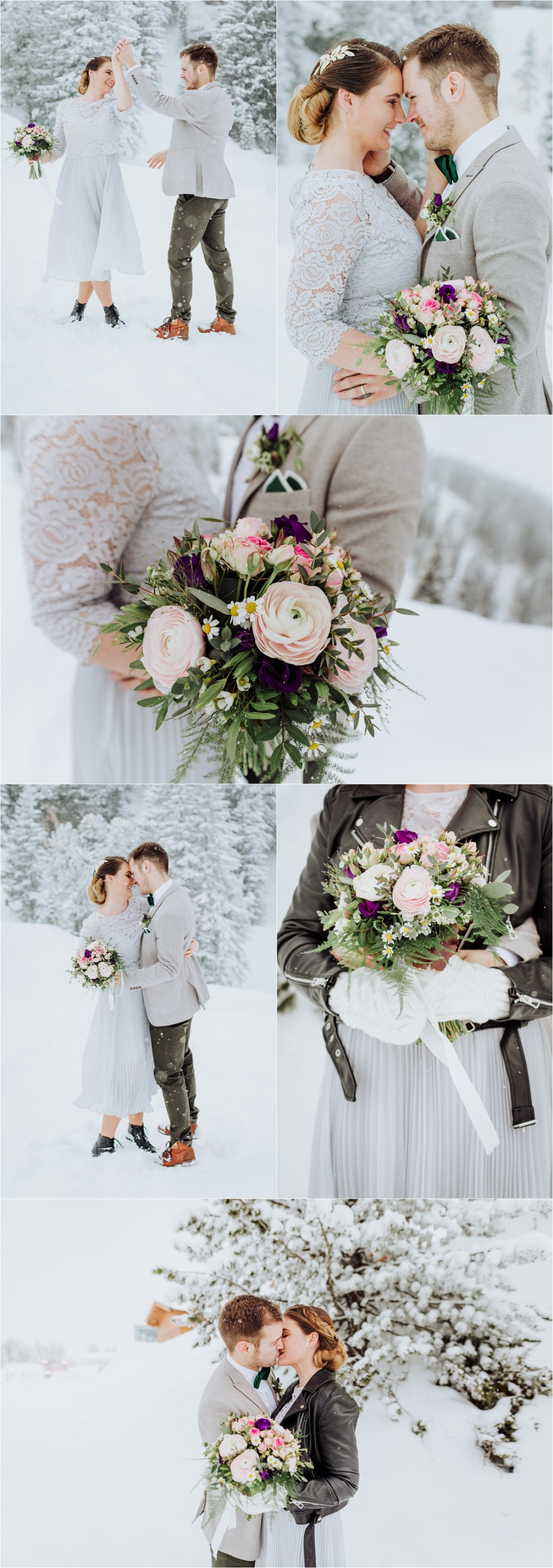 Bride & groom Nadja & Frederik enjoy the snow on the Penken in Mayrhofen Austria by Wild Connections Photography