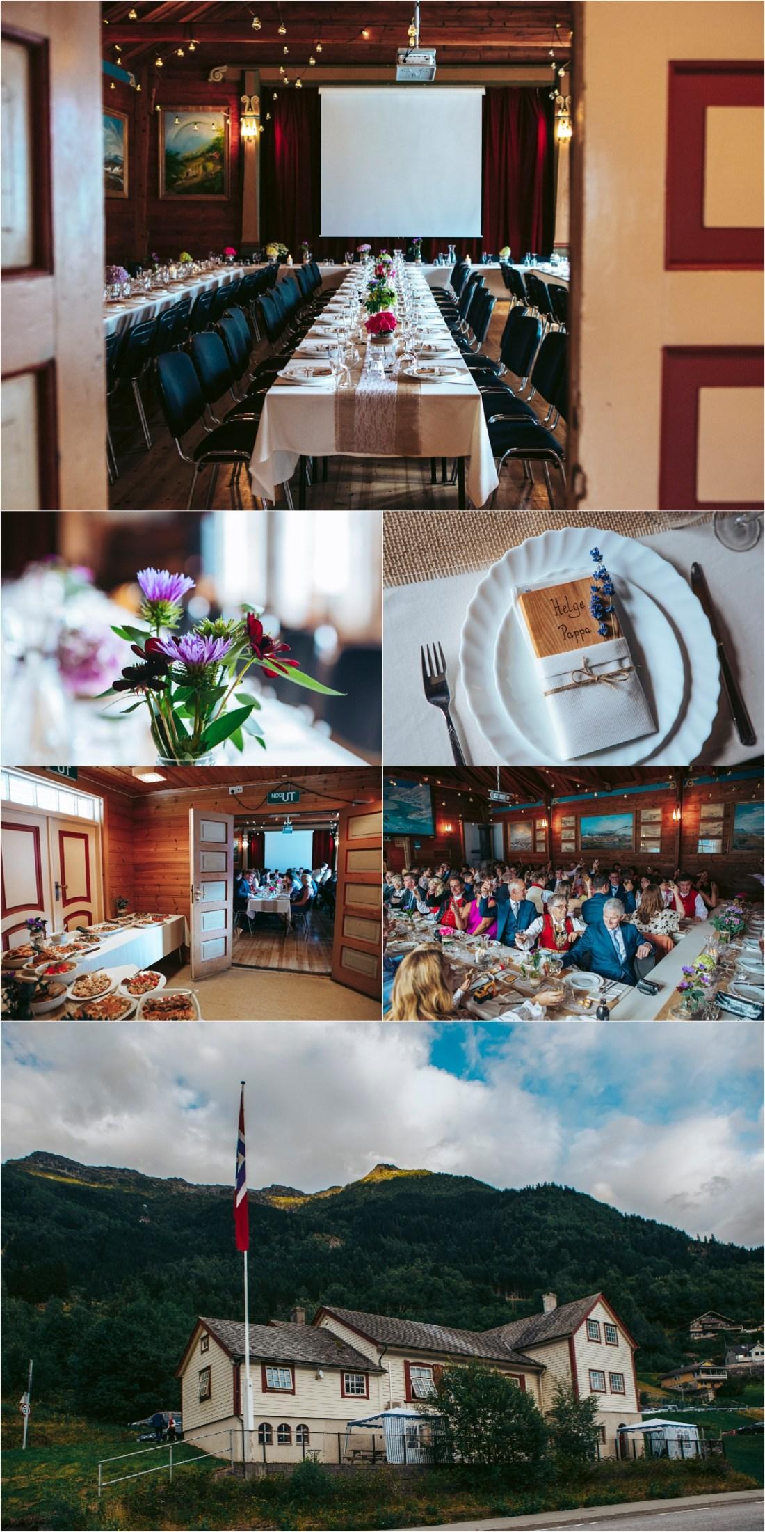 A Norwegian wedding reception in a local village hall in Hardanger Fjord by Fotograf Lene Fossdal