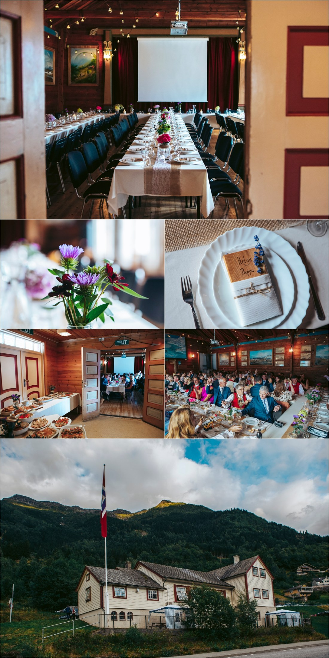 A Norwegian wedding reception in a local village hall in Hardanger Fjord by Fotograf Lene Fossdal