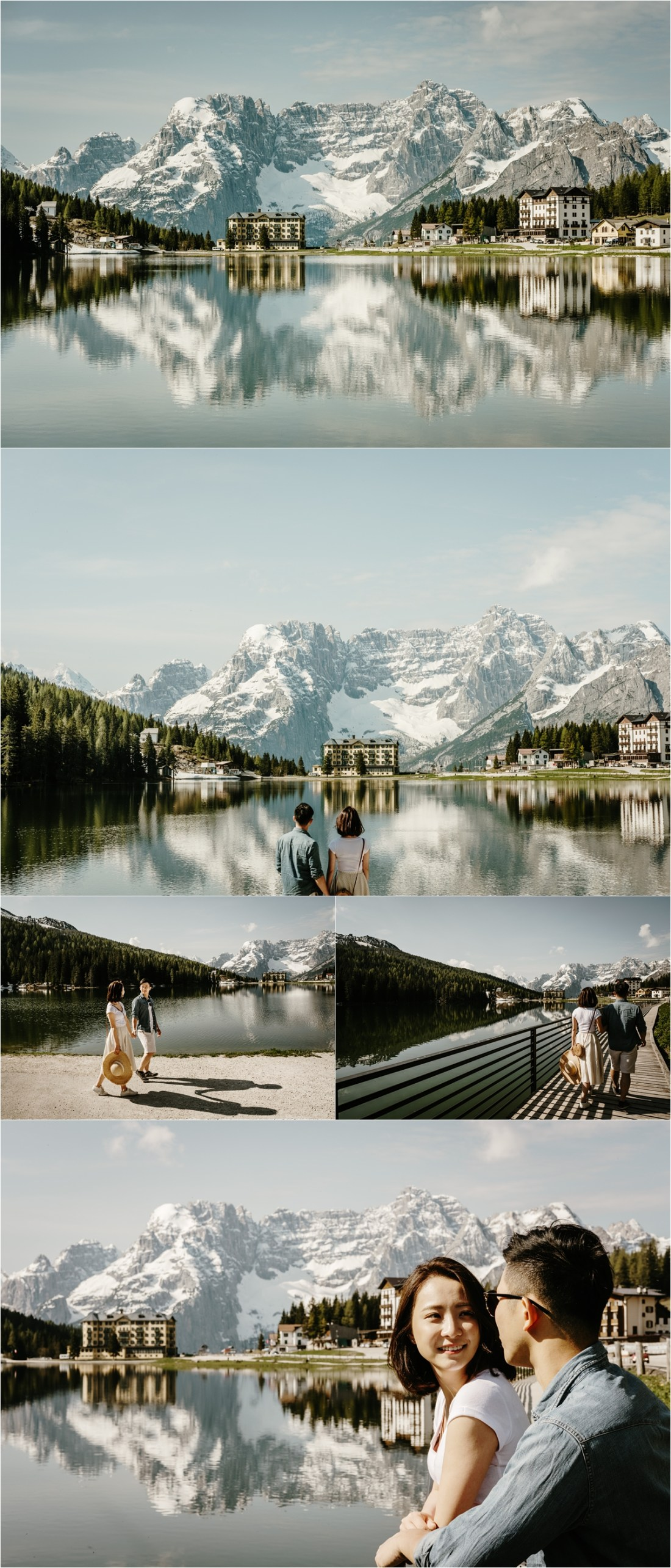 An engagement shoot at Lake Misurina in the Italian Alps by Wild Connections Photography