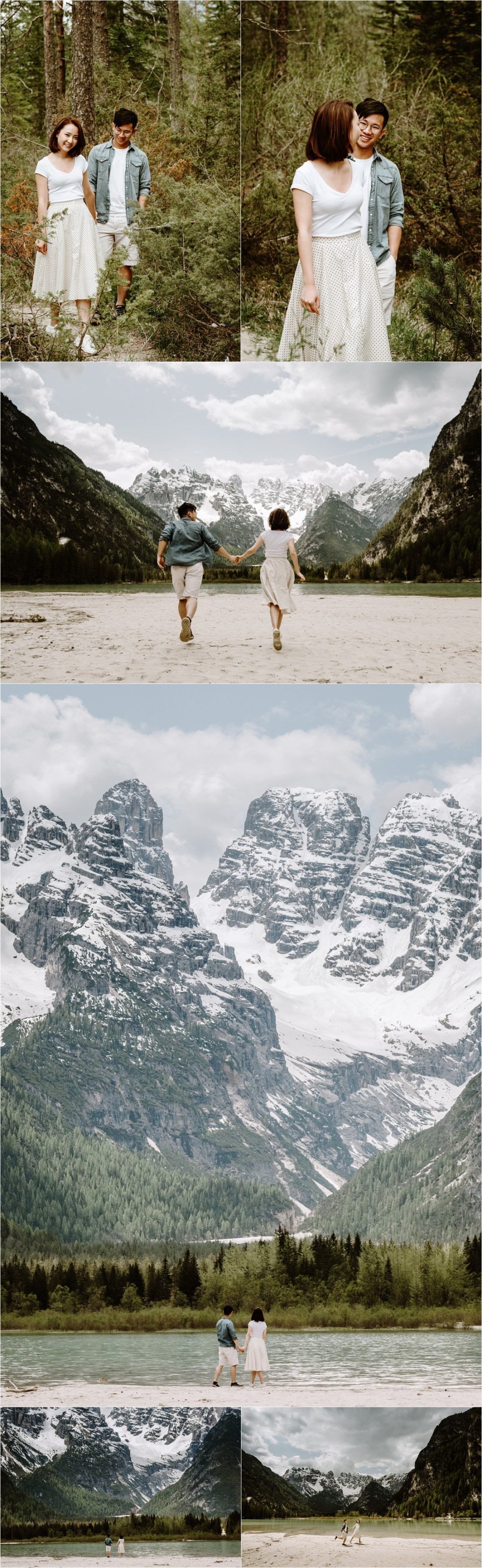 Chinese couple hike to the shore of a mountain lake for their engagement shoot in the Italian Alps. Photo by Dolomites photographer Wild Connections Photography