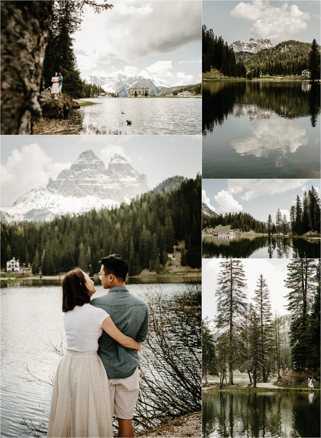 Views of lake Misurina during an engagement shoot in the Dolomites by Wild Connections Photography
