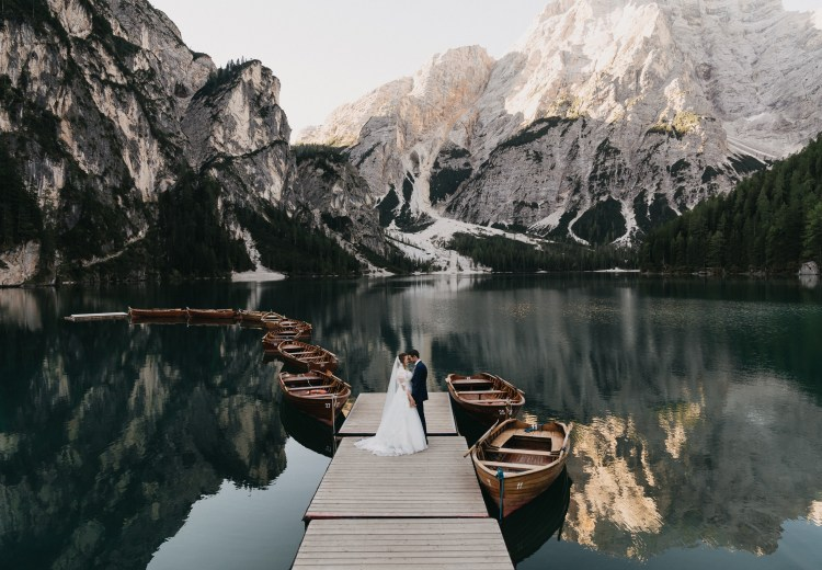 Pragser Wildsee after-wedding shoot in the Italian Alps by Romany Flower
