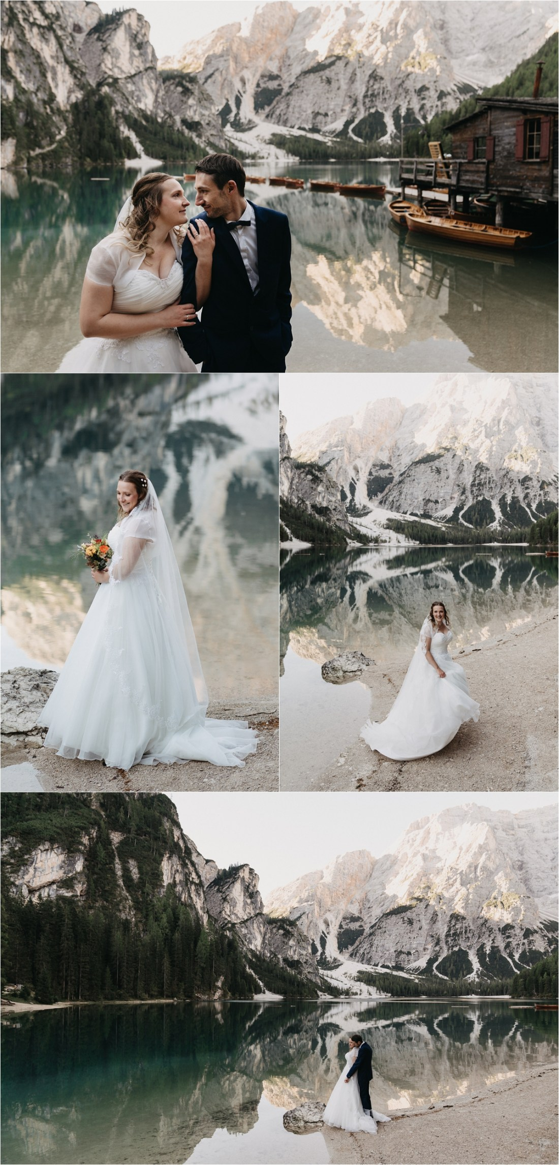 The bride and groom walk along the lake shore at Pragser Wildsee by Romany Flower