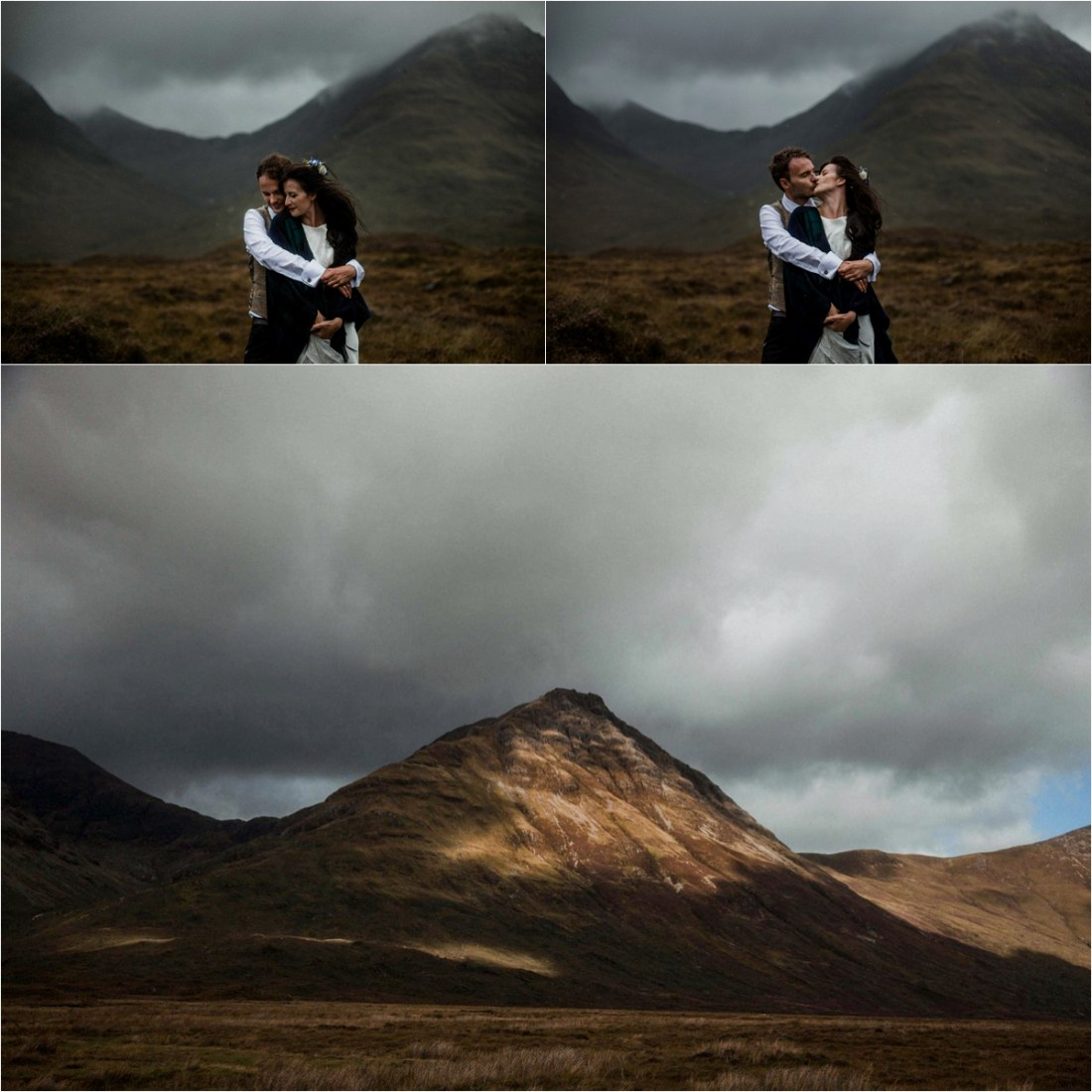 Moody skies for bride and groom portraits on the Isle of Skye. Photo by The Caryls Photography