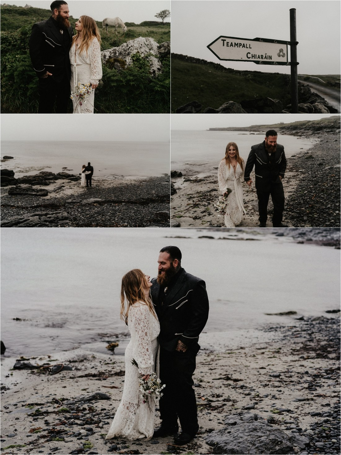 The bride and groom explore the beach in the Aran Islands in the rain. Photos by Emily Black Photography