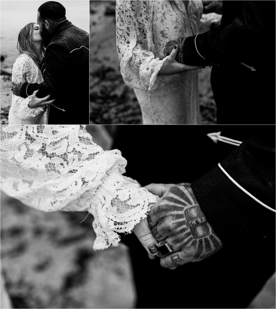 A tattooed biker couple get married on the Aran Islands in Ireland by Emily Black Photography