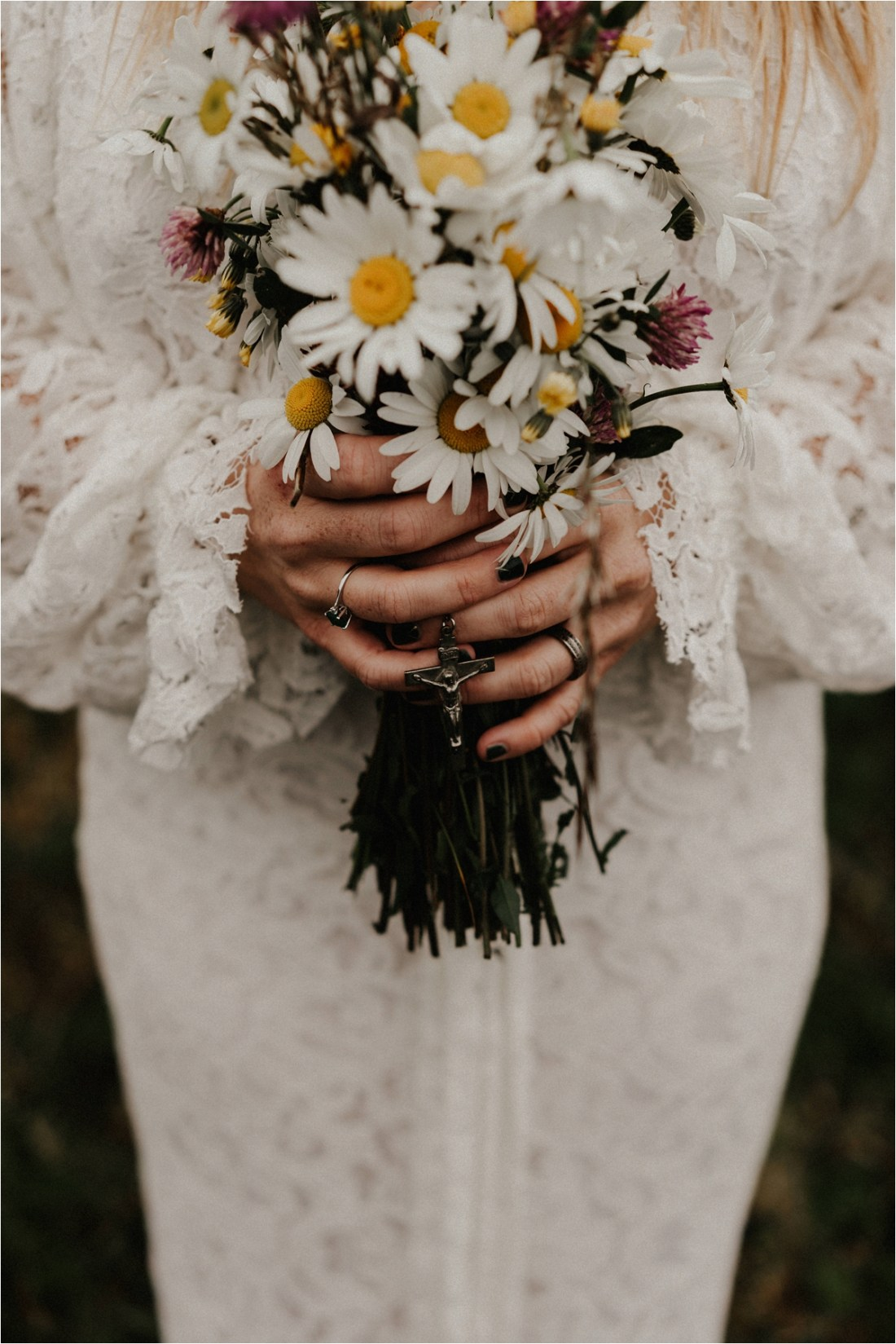 A wildflower bouquet for this hippie bride on the Aran Islands by Emily Black Photography