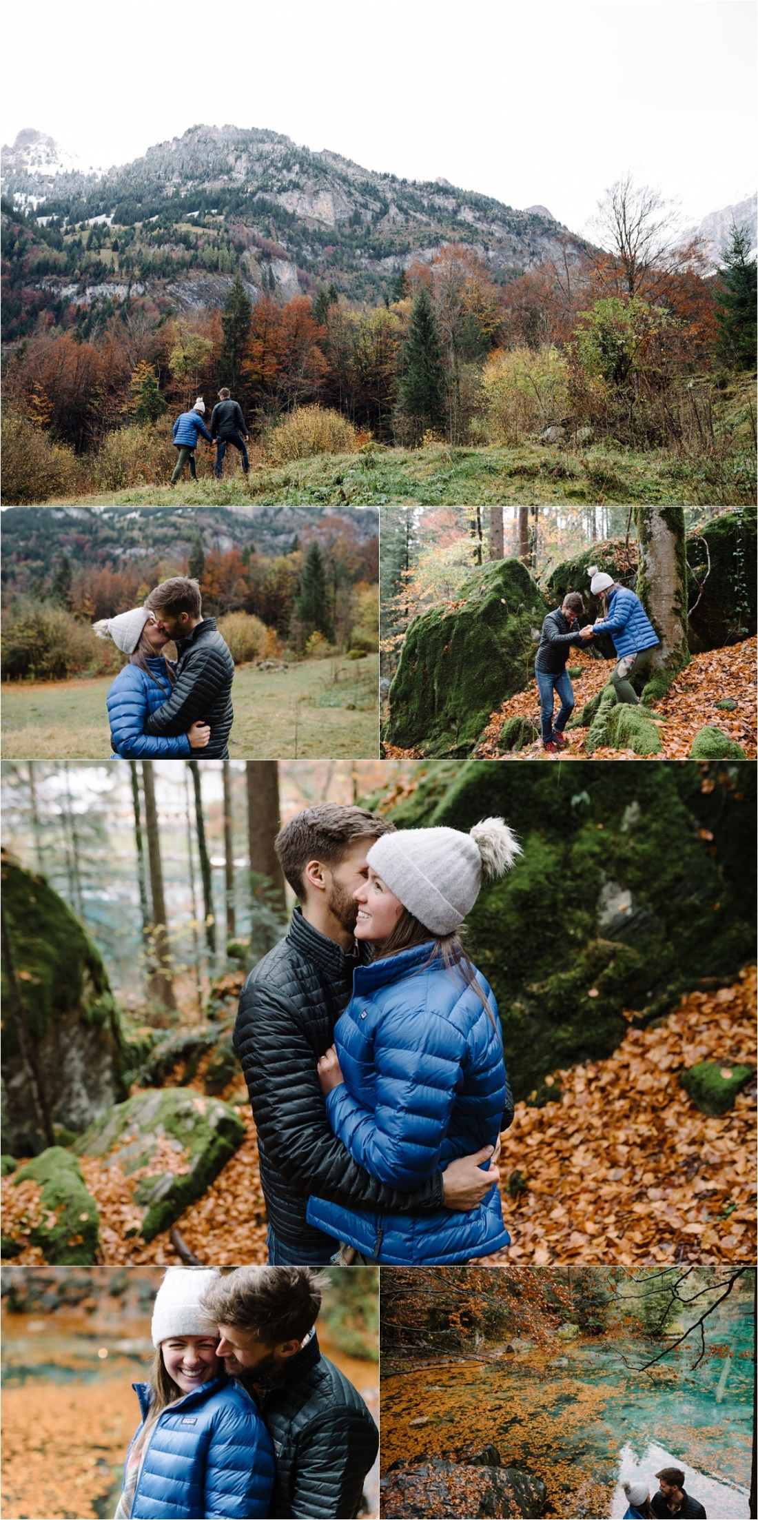 A couple kissing in the woods with Autumn leaves on the ground at Lake Blausee by Caroline Hancox Photography