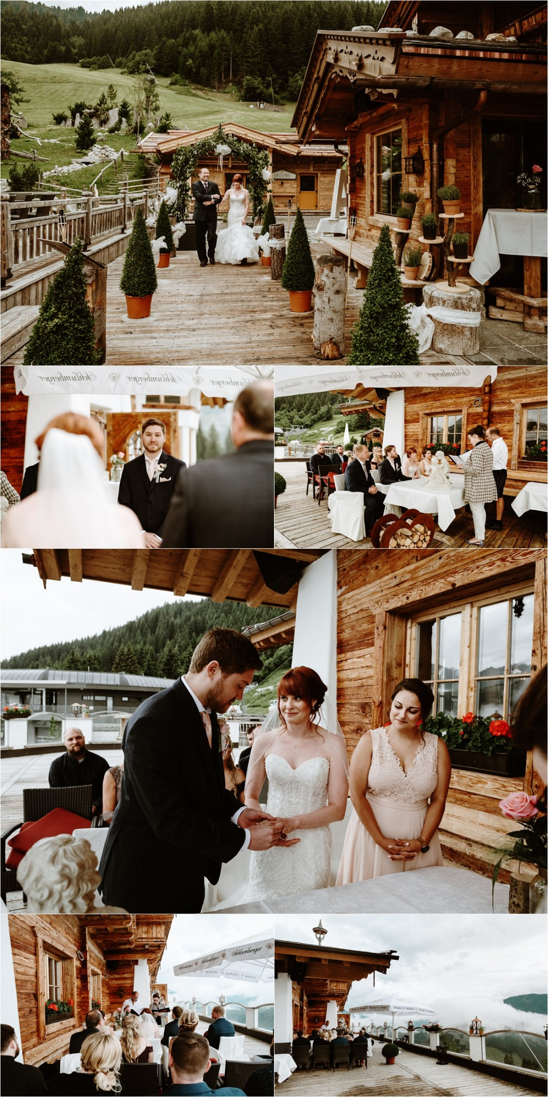An outdoor mountain wedding ceremony at the Rössl Alm in Austria. Photos by Wild Connections Photography