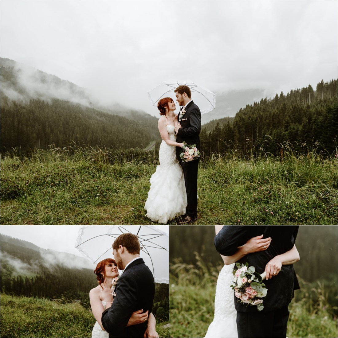 Bride & groom shelter under an umbrella in the Austrian Alps in the rain. Photos by Wild Connections Photography