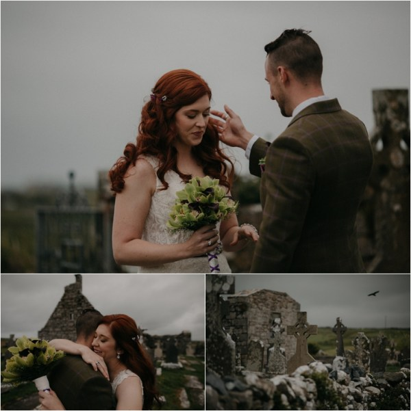 Cliff top Hand fasting of Jon and Sara, on the Cliffs of Moher, Co Clare, Ireland Captured by Photographers Seandkate the groom Jon brushes the brides hair behind her ear