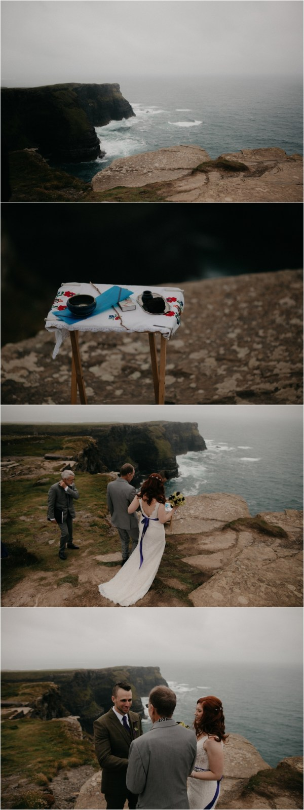 Cliff top Hand fasting of Jon and Sara, on the Cliffs of Moher, Co Clare, Ireland Captured by Photographers Seandkate the couple arrive at their clifftop ceremony location