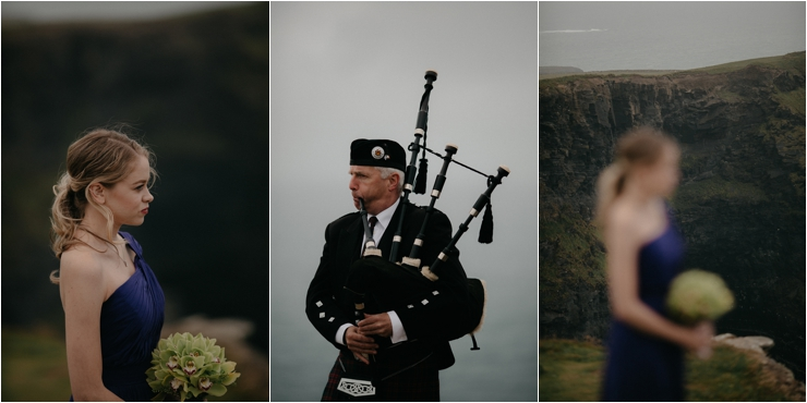 Cliff top Hand fasting of Jon and Sara, on the Cliffs of Moher, Co Clare, Ireland Captured by Photographers Seandkate a bagpiper plays during the ceremony