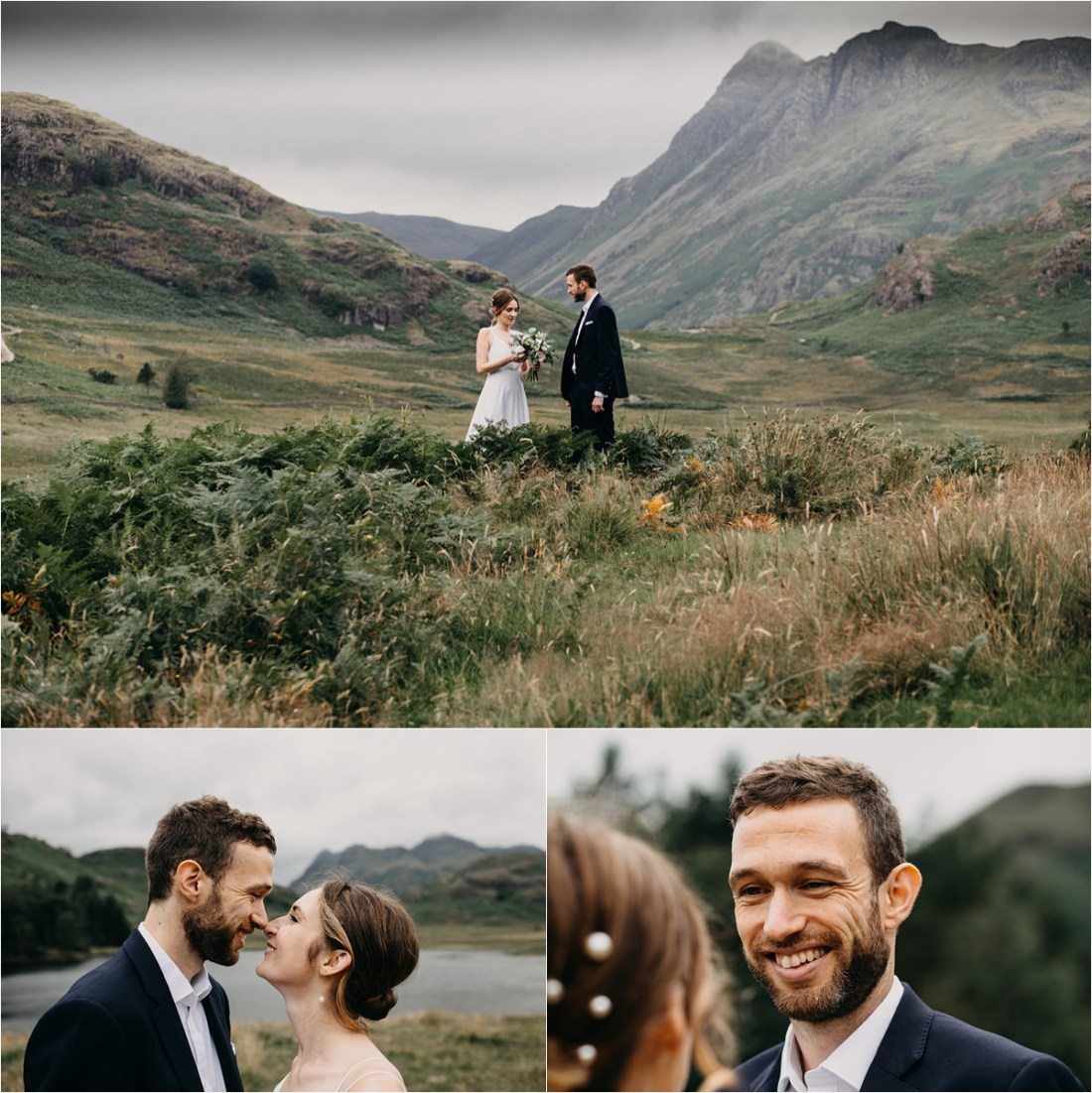 A hiking elopement at Blea Tarn in the Lake District in England. Photos by Unfurl Photography