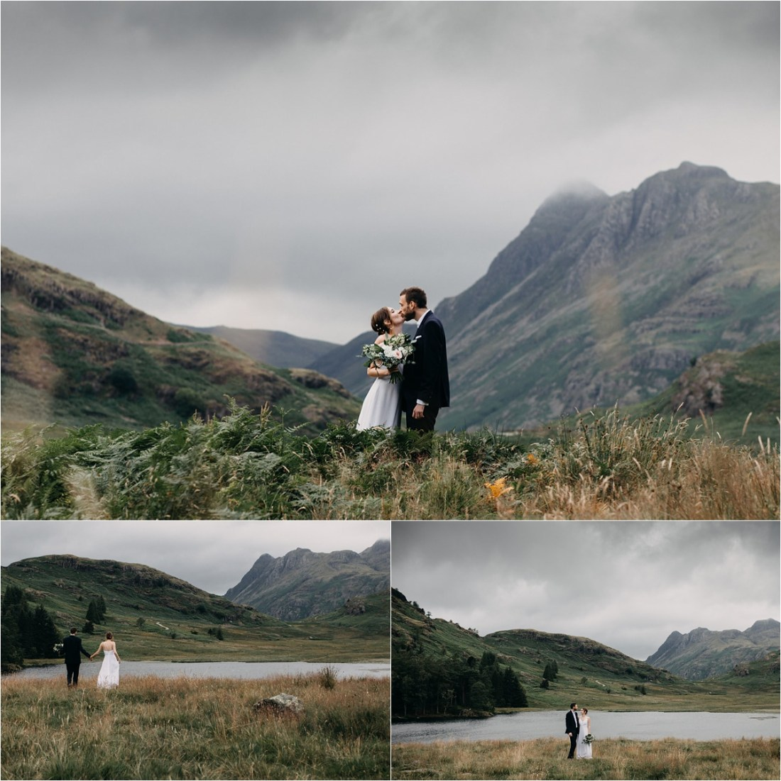 Newly wed couple exploring Blea Tarn in the Lake District in England on their wedding day. Photos by Unfurl Photography
