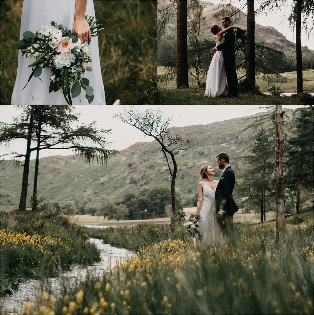 Intimate wedding at Blea Tarn in the Lake District in England. Photos by Unfurl Photography