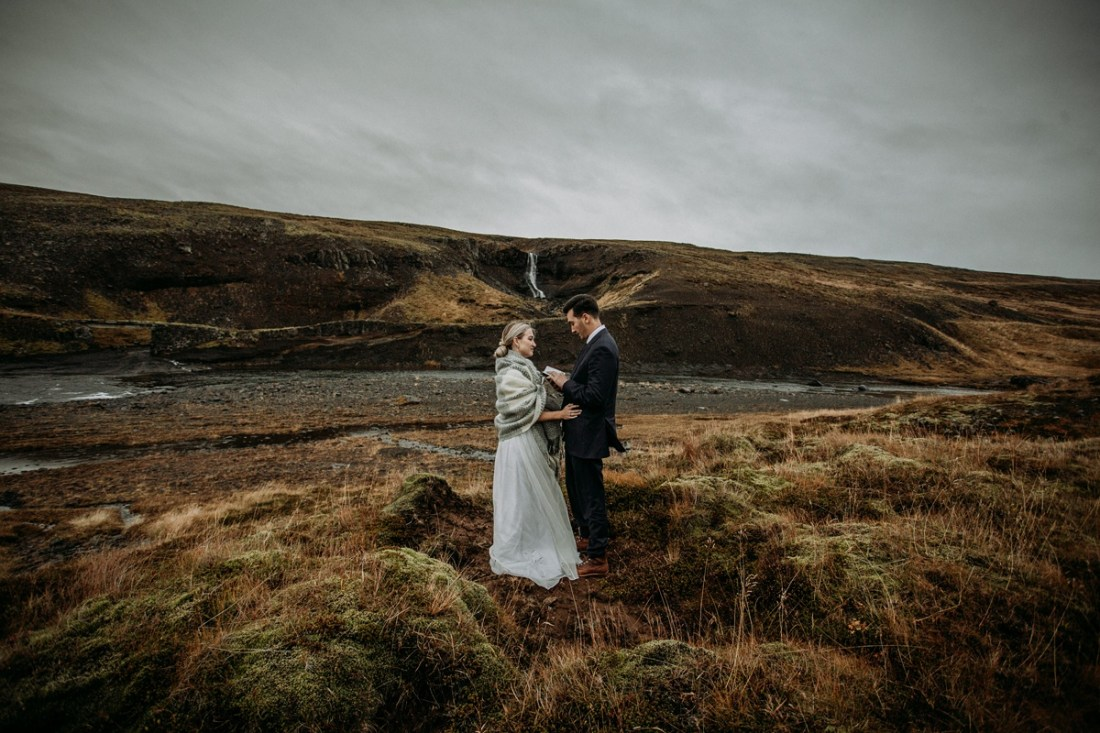 private waterfall elopement in Iceland