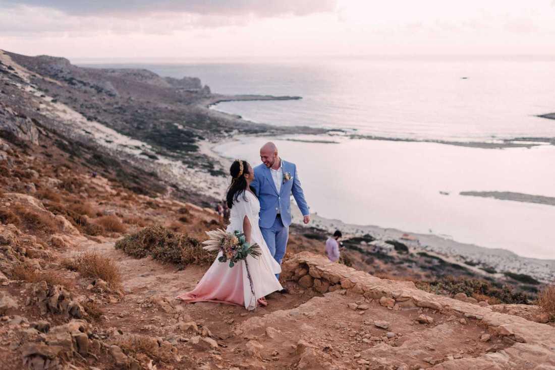 Sunset elopement in Balos Lagoon in Crete