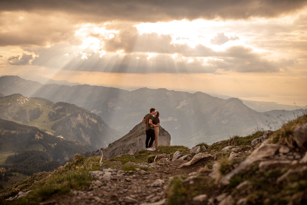 Couple photoshoot on Kanisfluh Mountain in Austria