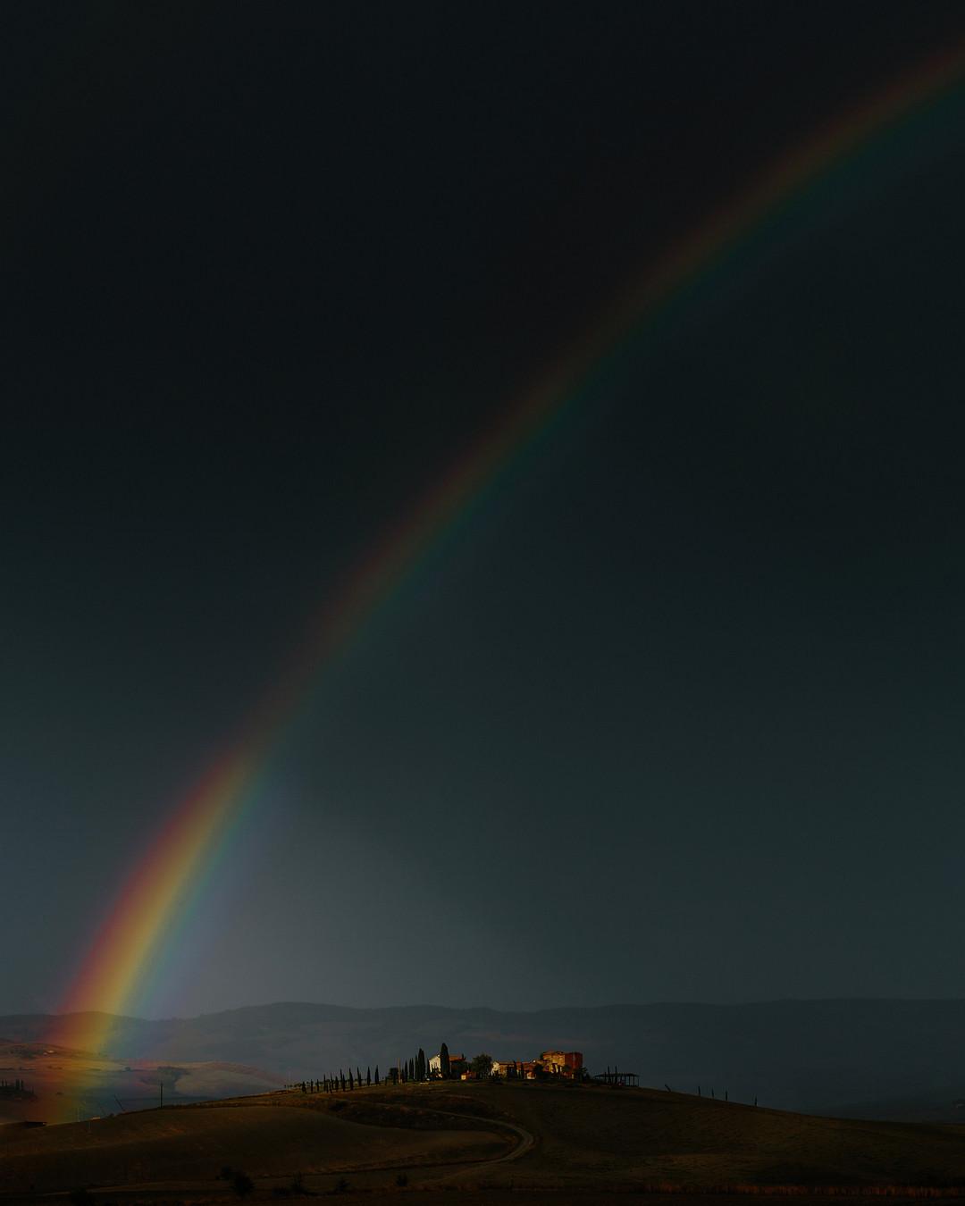 Rainbow over Locanda in Tuscany wedding venue