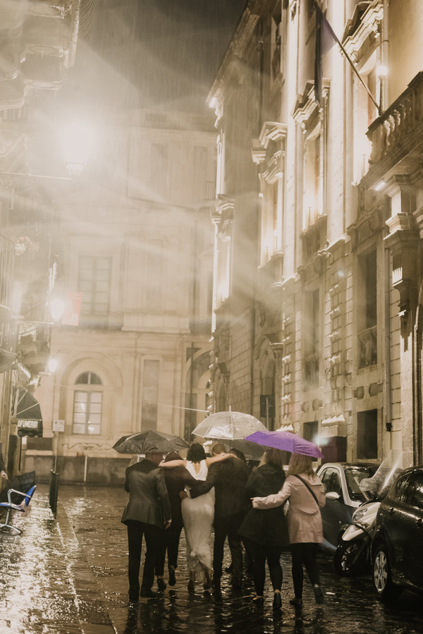 Rainy wedding in Sicily