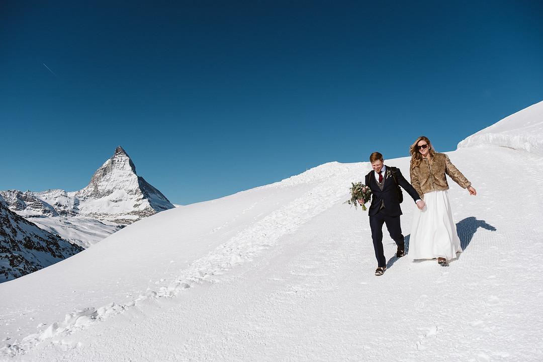 elopement in Zermatt, Fun February Elopement in Zermatt