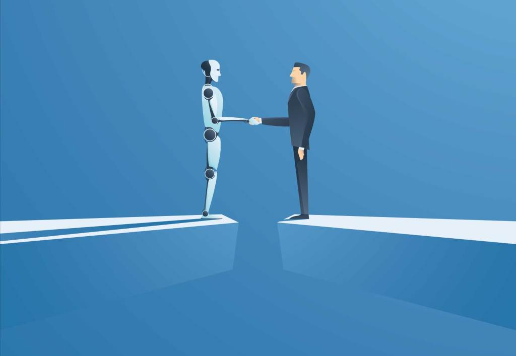 Robot and human shaking hands