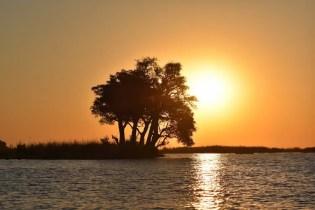 De zonsondergang in Botswana