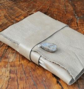 Reisdagboek leer grijs