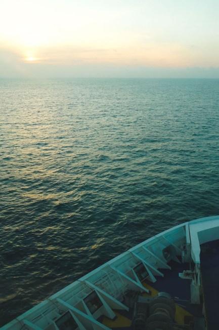 Zonsondergang stenaline vanaf ferry