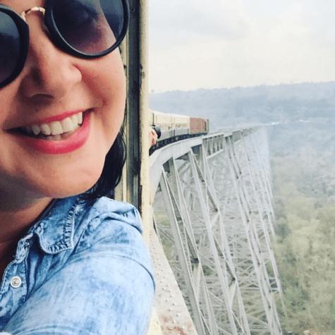 in de trein myanmair hoge brug