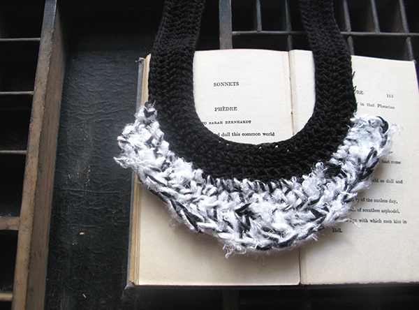 Black and white crochet necklace