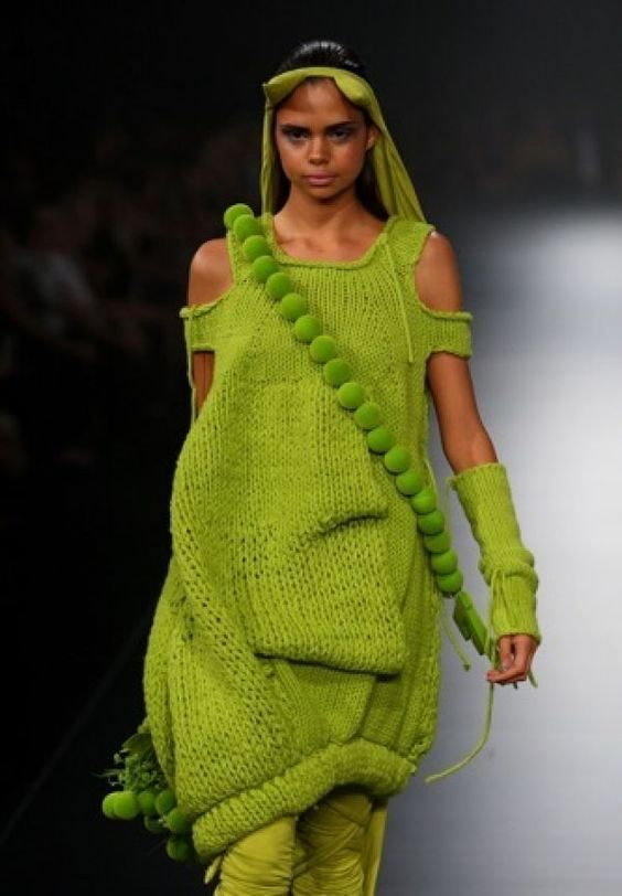 lime green knitted dress