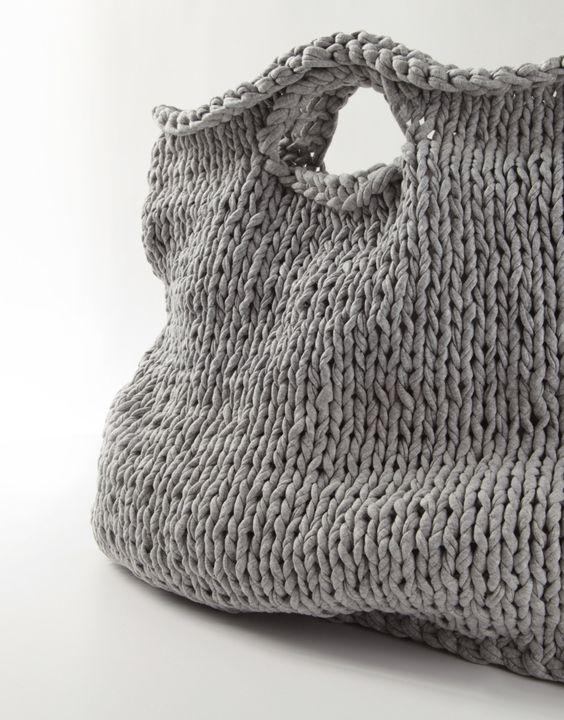 Knitting grey bag