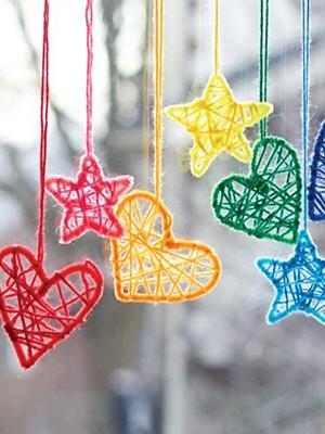 yarn hanging ornaments