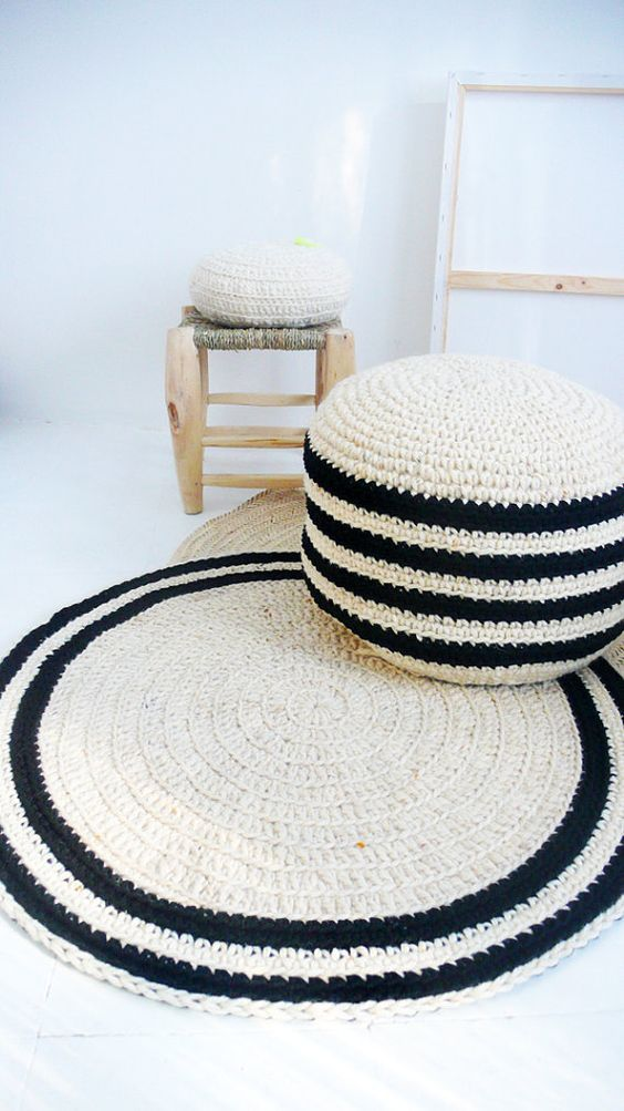 chunky pouf and rug