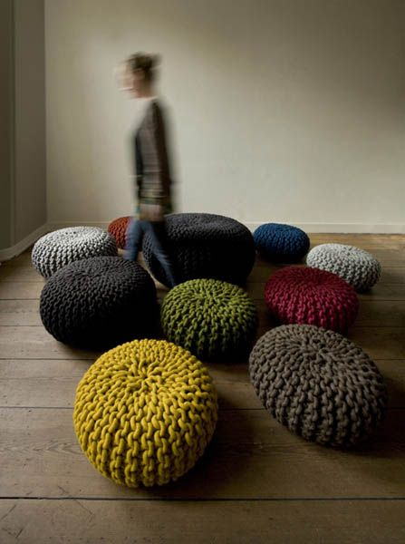 chunky poufs in colour