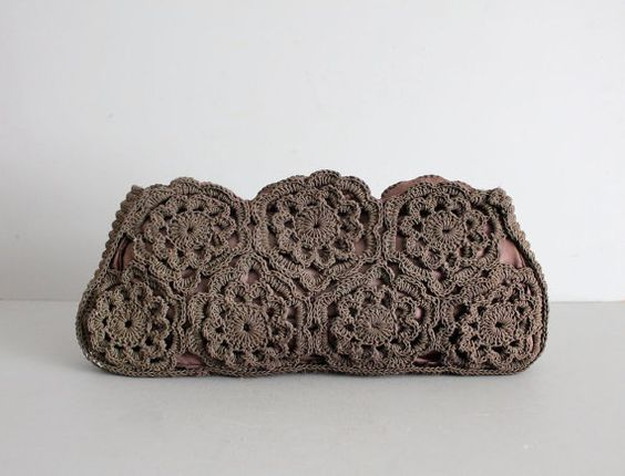 crochet brown clutch