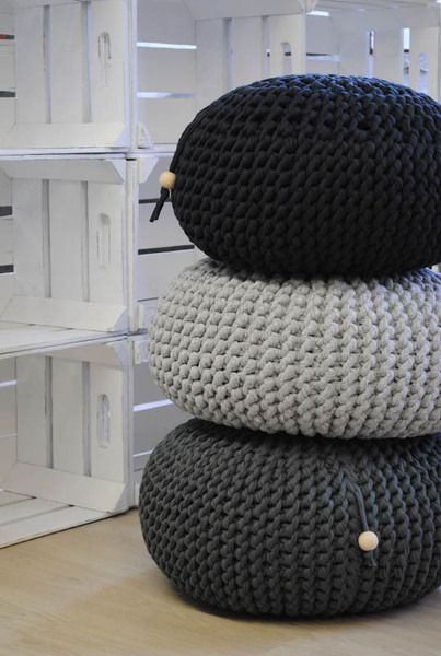 chunky black and grey poufs