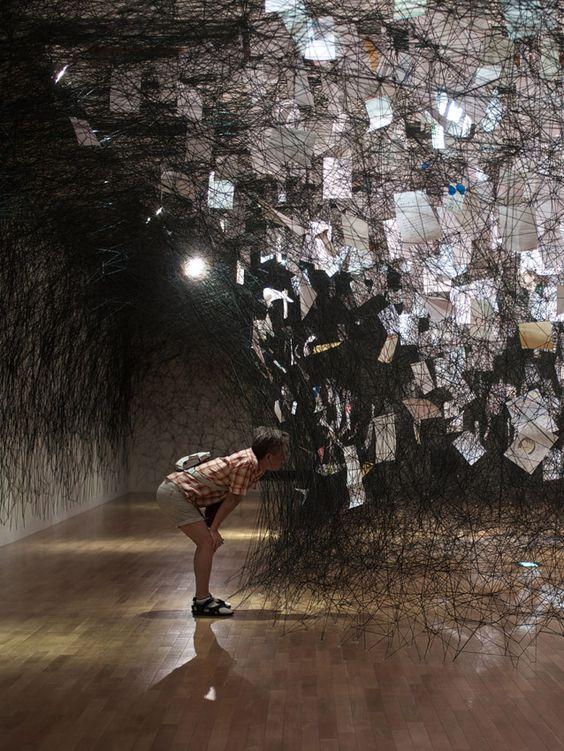 Chiharu Shiota letters installation 02