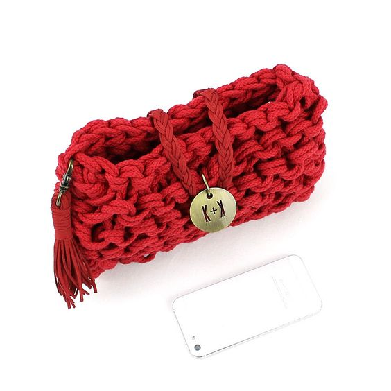 Knots & Knits red rope bag