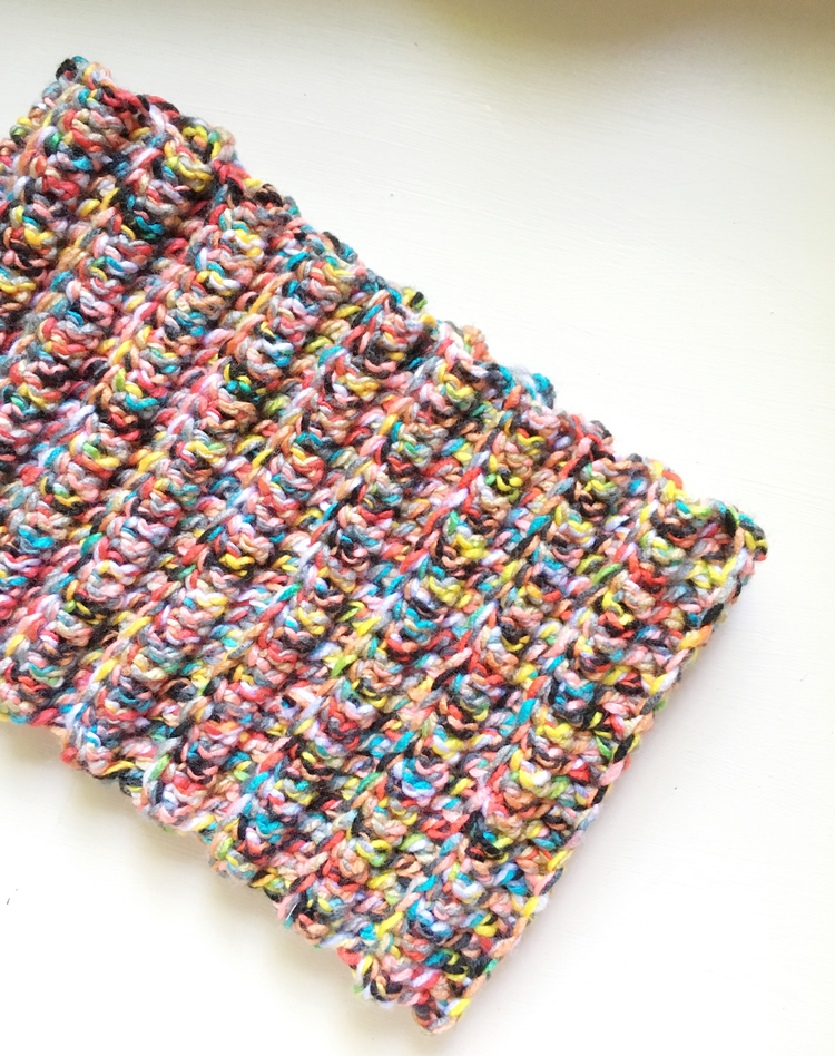 sugarbeans colorful crochet cowl detail