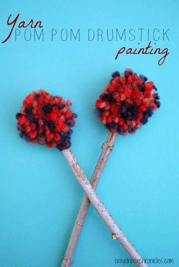 Yarn painting with pom pom