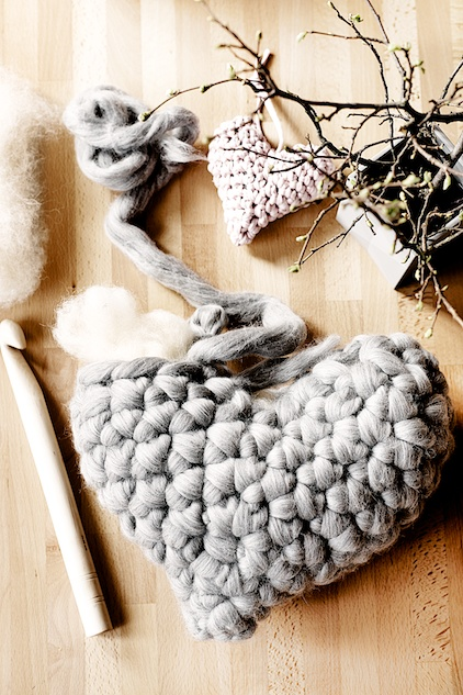 Valentine's Yarn Project Chunky Crochet heart pillow