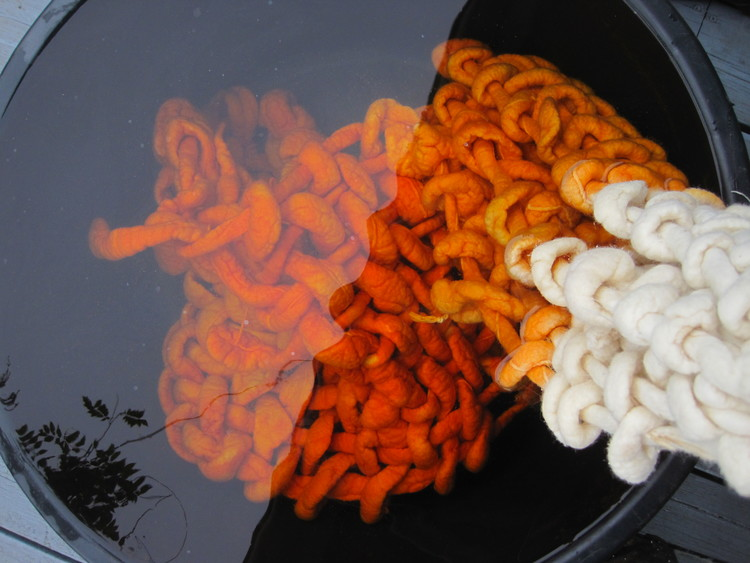Pia Wustenberg Studio woven swing dyeing process