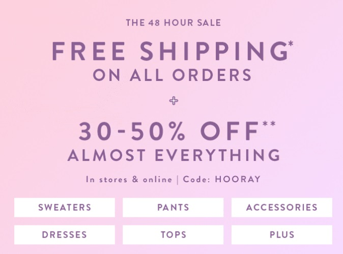 29b6efe518dcf LOFT: Free Shipping on All Orders + an Extra 50% off Sale Items ...