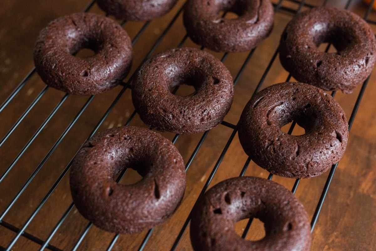 Gluten-free and dairy-free baked double chocolate cake donut recipe
