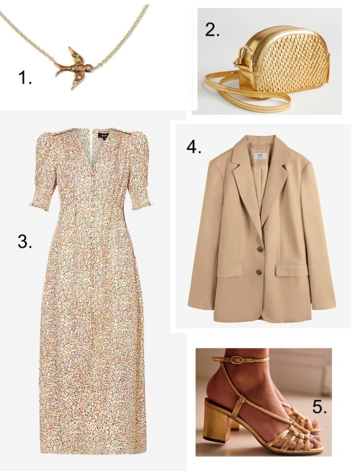 summer jackets blazer, me and em dress, gold handbag