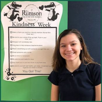 In addition to her kindness challenge, Mallory is involved in the school chorus and is excited about beginning cross country and track in high school.